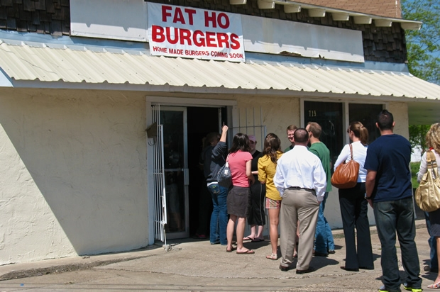 Burger-craving patrons waited in a long line to taste Fat Ho Burgers during the restaurant's first week in business.
