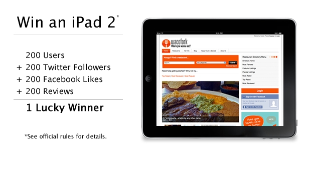 Win an iPad 2 in the WacoFork.com 4x200 Sweepstakes